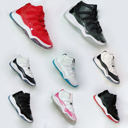 10 chaussures  Promotion kids air jordan 11 XI Sneaker Concord Space Jam Marine Rose en peau de serpent de race Legend Blue 72-10 Enfants Garçons Filles Basket-ball Chaussures