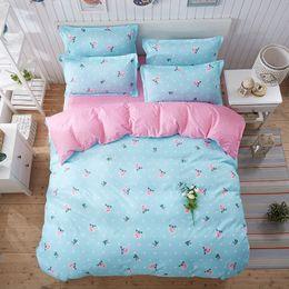 Розовые комплекты постельных принадлежностей онлайн-Blue&Pink Polyester Fabric Bedding Set for Girls Queen Size Quilt Cover Sheet&pillowcase Sets 4pcs Flower Printing BedCovers