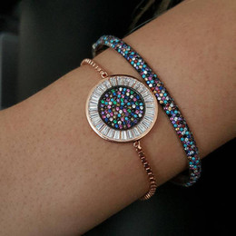 disco rose Promo Codes - round disco charm micro pave baguette cubic zirconia cz rose gold color box adjust chain turkish teen girl gift eye bracelet