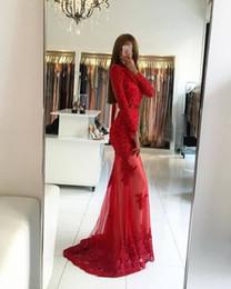 Lange abendkleider billige preise online-Beade Long Tüll Spitze Appliques Abendkleid 2019 Long Sleeves Red Frauen Abendkleid Großhandel günstigen Preis