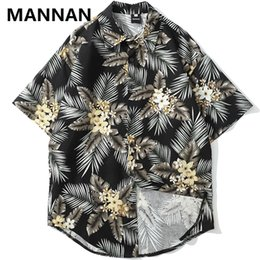 2403a8b7 Discount aloha shirts - MANNAN Flowers Print Hawaii Beach Shirts Men Summer  Hawaiian Aloha Party Holiday