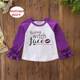 0c5e6809 Girls Long Sleeve tops Kids Icing Raglan ruffle sleeve shirt Baby letter  print purple cloth 5size