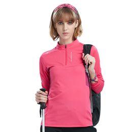 Primavera Estate Donna Sport all'aria aperta felpe manica lunga elastico traspirante montagna escursioni magliette 1/4 Zipper Top Tees da maglia ciclista rosa nera fornitori
