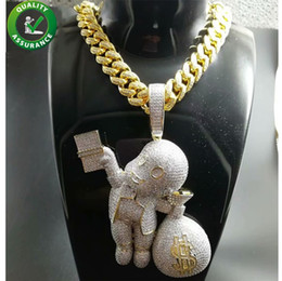 Diamanti di denaro online-Ciondolo ghiacciato Hip Hop Bling Catene Gioielli Uomo Collana d'oro Designer di lusso Diamante Cubano Link Cartone animato Mario Borsa per soldi Rapper DJ Charms