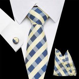 amarrados amarelos Desconto conjunto de seda laços 7.5cm Corbatas bolso Praça Cufflink Homens clássico de listrado amarelo sólido Formal Tie Magro Gravata casamento