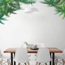 Folhas verdes papel de parede on-line-Adesivos de parede Casa Decoração Da Parede Plantas Verdes Folhas Adesivo para Quarto de Crianças Decoração do Quarto DIY Cartaz Mural Papel De Parede Decalque Da Parede