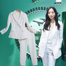 Интервью костюм костюм онлайн-Two piece set top and pants professional interview dress OL ladies casual fashion temperament suit two-piece suit slim