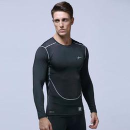 Camisas largas para medias online-2019 Camiseta para hombre Europa, EE. UU., Ropa para correr, ropa de secado rápido, ropa deportiva, camiseta de manga larga, entrenamiento de compresión, estiramiento, medias delgadas