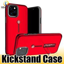 anillo de vuelta de iphone Rebajas Para iPhone 11 Pro Max XS XR X Titular híbrido de anillo soporte del metal Armadura caja del teléfono antichoque pata de cabra contraportada de Shell izeso