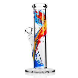 oil colour paintings Coupons - Bong Straight tube with downstem Glass Water pipe Height 7.5 inch Joint 14.4mm Bowl Water Pipes Oil Painting colour