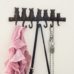 Ganchos de parede do ferro fundido on-line-ENS Hot 7 gatos Cast Iron cabide de parede - Elenco decorativa Iron Wall Gancho Rack - Vintage Design Hanger com 4 Hooks Mounted