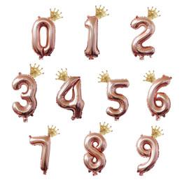conjuntos de decoración de la ducha del bebé Rebajas 2 piezas 0-9 número con corona de oro globo conjunto de globos globos de helio aire globos fiesta de bienvenida al bebé feliz cumpleaños decoraciones para niños juguete