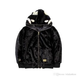 Abrigo de felpa negro online-Nuevo Otoño Invierno de los hombres Casual Plush Zipper Personalidad Abrigo Suéter Adolescente Hip Hop Negro Casual Chaquetas con capucha