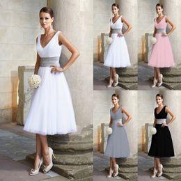 Longitud de té vestido de dama de honor online-Elegante, barato, mujer, moda, color sólido, cintura alta, cuello en V, té, longitud, una línea sin mangas, columpio, vestido de dama de honor