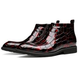 Vestidos de novia negro vino online-Moda Negro / Vino Rojo Cocodrilo Botas de grano Botas de vestir para hombre Zapatos de boda de cuero genuino Botines para hombre