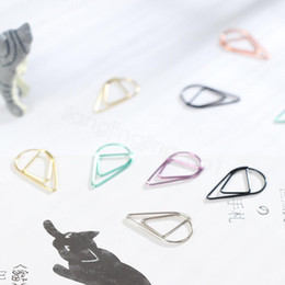 clips d'étiquette Promotion Drop Forme Forme Papier Clips Métal Matière Gold Argent Couleur Funny Kawaii Bookmark Office Stape Papeterie Papeterie Clips 10pcs / Lot FFA3145