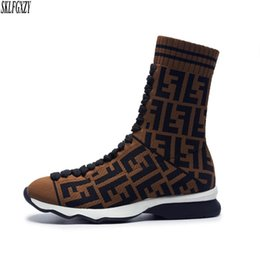 personalized shoes Promo Codes - European fashion personalized sock women boots knitted fabrics authentic styles plush lining women boots shoes sizes 34-42