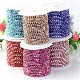 измерительная цепь Скидка New Cheap 1 Meter 23 Colors Clear Crystal Silver Base Cup High Density Rhinestone Claw Chain DIY Trim Sew-On Jewelry Accessories