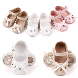 chaussures douces Promotion New Baby Girls First Step Chaussures Baby Soft Bottom Bow antidérapants Toddler Premières Walkers bottillons Chaussures Filles