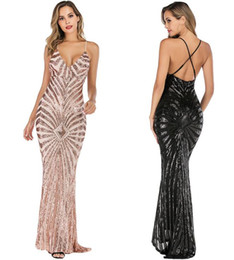 Canada Soirée Club Sirène Robe Élégante Profonde Col En V Robes De Fête Paillettes Or Maxi Robes Dos Moulante supplier backless evening dress spandex Offre