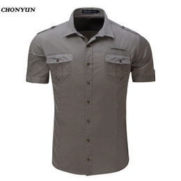 8905c8ecaee4 Solid Shirt Men 2018 Brand New Design Short Sleeve Mens Dress Shits 100% Cotton  Casual Button Down Mens Shirts Plus Size EUR XXL