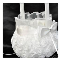 2019 flores para decorações do casamento Puro e Elegante Flor Branca Cesta Romântica Rosette Wedding Flower Basket Cesta Da Menina de Flor Festa de Casamento Decoração Atacado flores para decorações do casamento barato