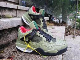 2019 New Travis x Jumpman 4 Herren Green Straußenleder 4 4s Basketball Schuhe Retro Größe 40-47 von Fabrikanten