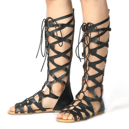 Deutschland Roman Gladiator Bandage Sandalen Frauen Kniehohe Flache Alias Botas Femininas Frauen Schuhe Mädchen Sommer Hohl Kniestiefel Apr10 cheap knee sandals Versorgung