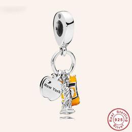 Encanto de la libertad online-Estilo Pandora 100% 925 plata esterlina Ciudad de Nueva York Estatua de la libertad Amarillo Taxi Charm fit Cuentas originales Pulsera