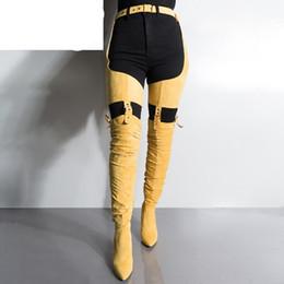 botas de mujer tacón alto de pierna gruesa Rebajas Mujeres sobre la rodilla Pierna Hebilla Cinturón Cinturón Botas largas Señora Flock Dedo puntiagudo Muslo plisado Botas de tacones altos gruesos