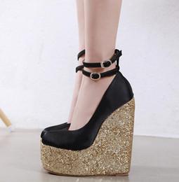 16CM Black Gold Sequined Super High Heel Platform Wedge Luxury Designer Shoes Come With Box