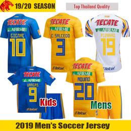 Футбольные майки valencia онлайн-19 20 Tigres Soccer Jersey C.SALCEDO 19 20 LIGA MX Tigres UANL GIGNAC Mens Uniform Kids Kit VALENCIA PIZARRO Football Shirt VARGAS Jersey