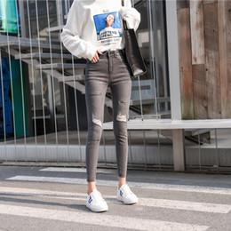 casual bleistift hose für mädchen Rabatt 2018 Frühlingsmode beiläufige weibliche Studentinnen Baumwolle Stretch engen Frazzle Bleistift Hosen Jeans Kleidung Kleidung