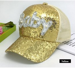shiny pink nails Promo Codes - Maxi High quality Baby letter sunhat female sunscreen baseball cap nail bead sequins mesh breathable bling shiny hat for adults kids