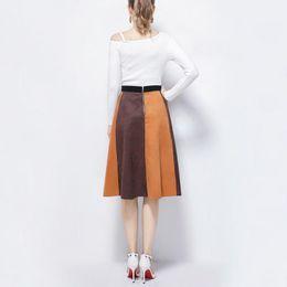 2019 estilo saia de couro Mulheres Casual Cintura Alta Voltar Zipper PU Saias Moda Couro Patchwork Um Estilo Saia Festa estilo saia de couro barato