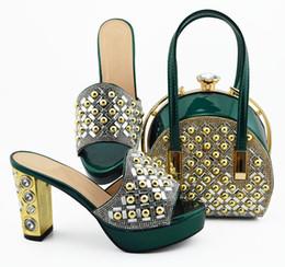 b robes sac à main Promotion Nouveau mode D.green pompes femmes avec des chaussures africaines décoration strass correspondent sac à main pour robe MD007, talon 10CM