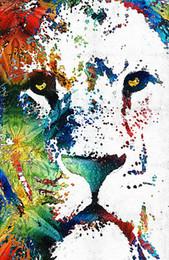 Trabajo de oficina online-Arte en lienzo-arte colorido de lienzo sin marco Arte moderno de la pared para la decoración del hogar y la oficina, pintura al óleo, pintura de animales, pintura de marcos
