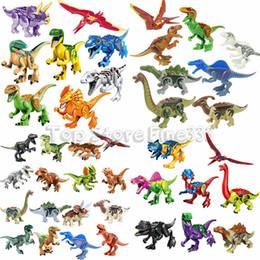 Bloco jurássico on-line-Jurassiic Park Mundo Dinossauro Blocos de Construção 48 Designes Kopf Bloco Brinquedos Jurassic Dinossauro Parque Tijolos Brinquedos Boneca Melhor ABS Dinossauro Minifig