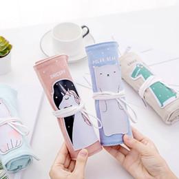 2019 cajas de lápices para niñas Unicornio Caja de Lápices Niños Niños Chicas Lienzo Letra Roll Up Estuche Lápiz Útiles Escolares Bolsa de Lápiz Portátil cajas de lápices para niñas baratos