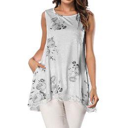 Кружевной режим онлайн-Women Lace Blouse Sleeveless White Shirt Casual Print Pocket Top Loose Cotton Blouses Haut Femmes Mode Summer Blouse
