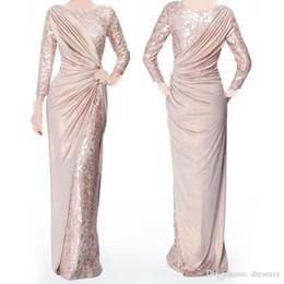 vestidos de noiva com pérola rosa mãe Desconto Custom Made Pearl Pink mangas compridas Mãe de vestidos de noiva do noivo para Jewel Wedding Neck elegante Pavimento Length plissados vestidos de noite formal