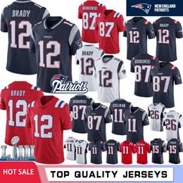 S cocinando online-12 Tom Brady New Patriots Hombres Jerseys 87 Rob Gronkowski 10 Josh Gordon 11 Julian Edelman 26 Sony Michel 50 Harry 14 Brandin Cooks Hot