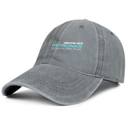 Chapéus denim mulheres on-line-Para homens e mulheres do vintage Denim chapéu de lavagem Ajustável Mercedes AMG design do logotipo Tampas planas Um Tamanho Pai tampas Ao Ar Livre