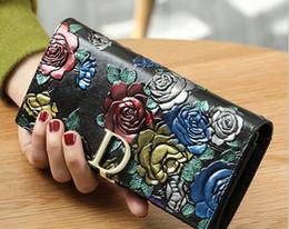 bolsas de estilo s Rebajas Nueva alta calidad de cuero larga cartera de la mujer original retro estilo nacional de lujo de impresión en tres dimensiones bolso de embrague de la cartera envío gratis
