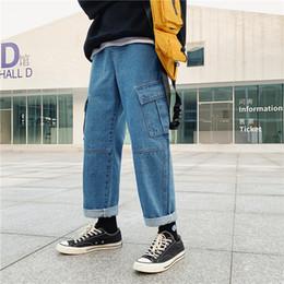 6b6b89a2e 2019 Primavera Moda Tendência dos homens de Trabalho Baggy Homme Clássico  de Carga Calça Jeans Preta / azul Calça Casual Biker Denim Calças S-xl  calças ...