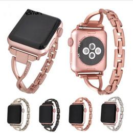 Для Apple Watch Bands 4 3 2 Diamond X Металлические ремешки для iwatch Умные аксессуары 38мм 42мм 44мм 40мм Черный Щепка Золотая роза от
