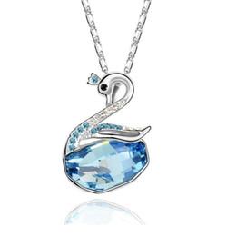 Swan ama colar on-line-Colar De Cristal Austríaco Swan Amor Estilo Pingente De Ornamento