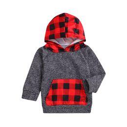 2019 de alta calidad Toddler Kid Baby Boys Girls Plaid con capucha bolsillo de manga larga sudadera Pullover Tops moda ropa de abrigo gris desde fabricantes
