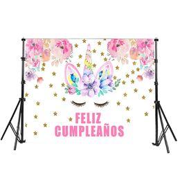 Toile de fond de mur d'anniversaire en Ligne-Licorne joyeux anniversaire photographie décors photo fond fête décoration murale rose fleur étoiles toile de fond 7x5ft personnaliser