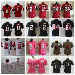 Lady Football 11 Julio Jones Women Atlanta Falcons Jerseys 24 Devonta  Freeman 84 Roddy White 2 Matt Ryan Red Black White Woman affordable jersey  falcons 8b70697ab